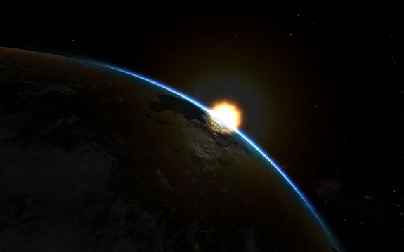 We're still processing photos but here is one from 109km showing Kerbol rising over the horizon